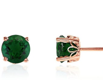 4a08a4c76 14K Rose Gold Emerald Earrings Quality Lab Created Round Green Emerald  Gemstone Stud Earrings 6mm Round, May Birthstone, Gift for Her