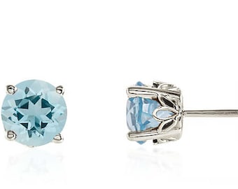 Aquamarine  Earrings - 14K White Gold Genuine Blue Gemstone Studs - 1.25ct - 6mm Round - March Birthstone - AAAA Top Quality - Gift for Her