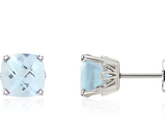 Aquamarine Cushion Cut Earrings 14K White Gold Cushion-Cut Blue Aquamarine Gemstone Studs - 1.5ct - 6x6mm - March Birthstone - Gift For Her