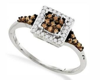 10K Rose Gold Chocolate Brown /& White Diamond Ring .25ct Cluster Ring Size 5-9