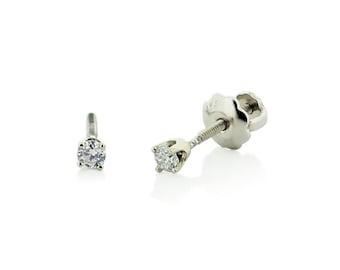 6e33b0152 Baby Diamond Earrings, 14K White Gold White Diamond Stud Earrings for Babies  or Kids, Screw Back Earrings, Gift for Girls - Second Piercings