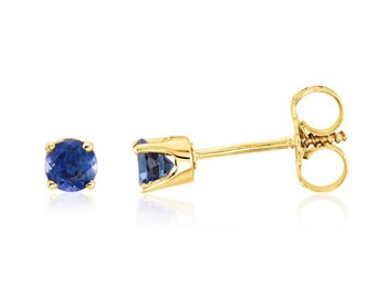 Solid 14K Yellow Gold Round Genuine Blue Sapphire September Stud Earrings