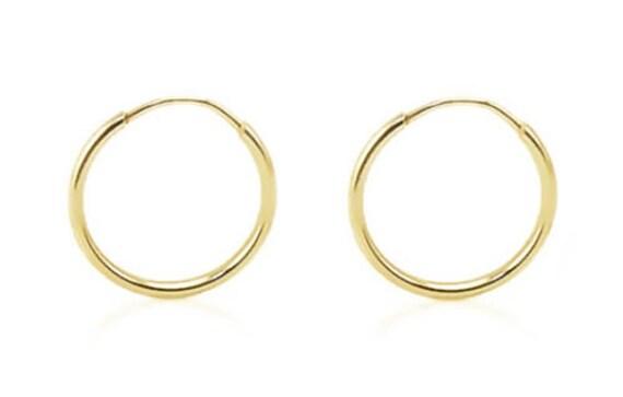14K White Gold Diamond Cut 31mm Round Endless Hoop Earrings