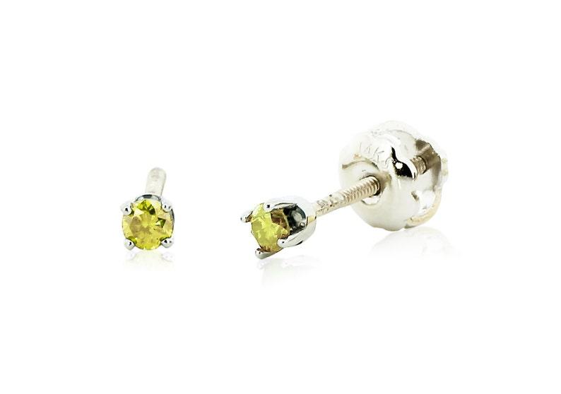 c9bd2f69f5f0f9 Baby Diamond Stud Earrings 14K White Gold Yellow Diamond Stud   Etsy