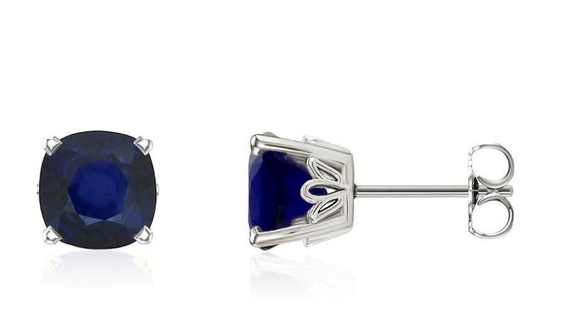 9adafc46a 14K Sapphire Stud Earrings 14K White Gold Cushion Cut Genuine | Etsy