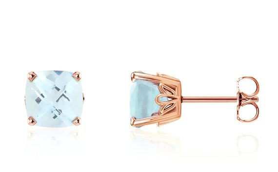 Solid 14K Yellow Gold Round Genuine Sky Blue Topaz March Stud Earrings 2mm-8mm