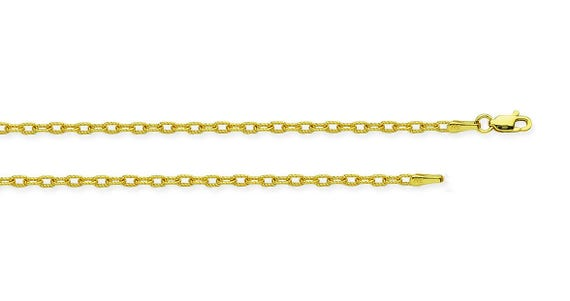 """Details about  /18K Yellow Gold Classic 2mm Rolo Link Chain Necklace 20/"""" with Lobster Clasp"""