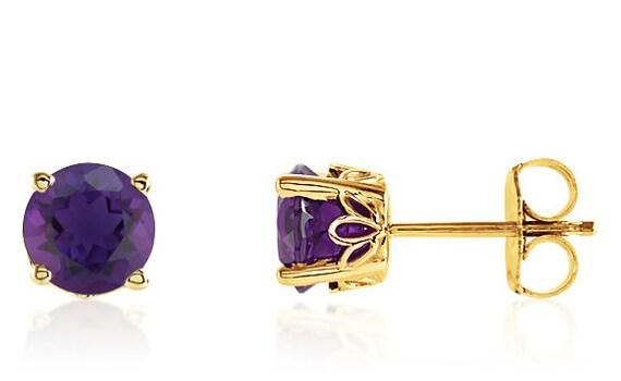 9408f707b 14K Yellow Gold Amethyst Gemstone Stud Earrings 6mm Round | Etsy