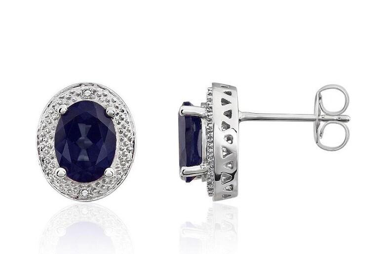 4c9d5d91e 14K White Gold Sapphire Earrings Midnight Blue Sapphire & | Etsy