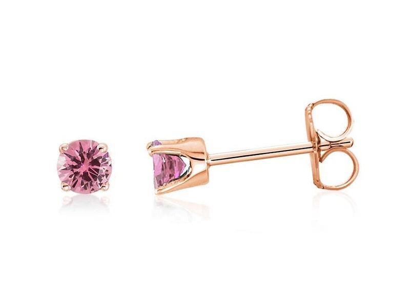 90d5bf24a20f Rose Gold Pink Sapphire Studs 14K Rose Gold Pink Diamond Cut