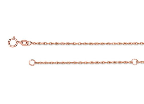 14k Adjustable Light Weight Rope Chain Necklace 18 Inch in White Gold Yellow Gold and 1.2mm