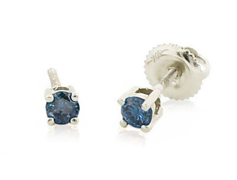 a0145efa1 Blue Diamond Earrings 10K White Gold Blue Diamond Solitaire   Etsy