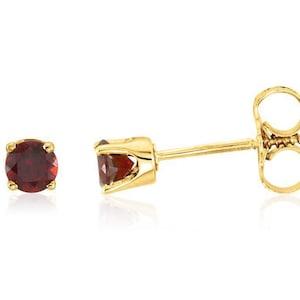 14K Solid Yellow Gold January Garnet Round Shape Screw Back Stud Earrings