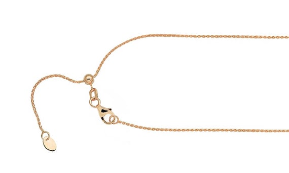 14K Rose Gold Adjustable .55mm Baby Box Chain; 22 inch