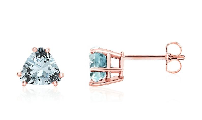565250270af2c Aquamarine Earrings, 14K Rose Gold, White Gold or Yellow Gold Blue  Aquamarine Trillion Gemstone Studs 6mm, March Birthstone, Over 1 Carat