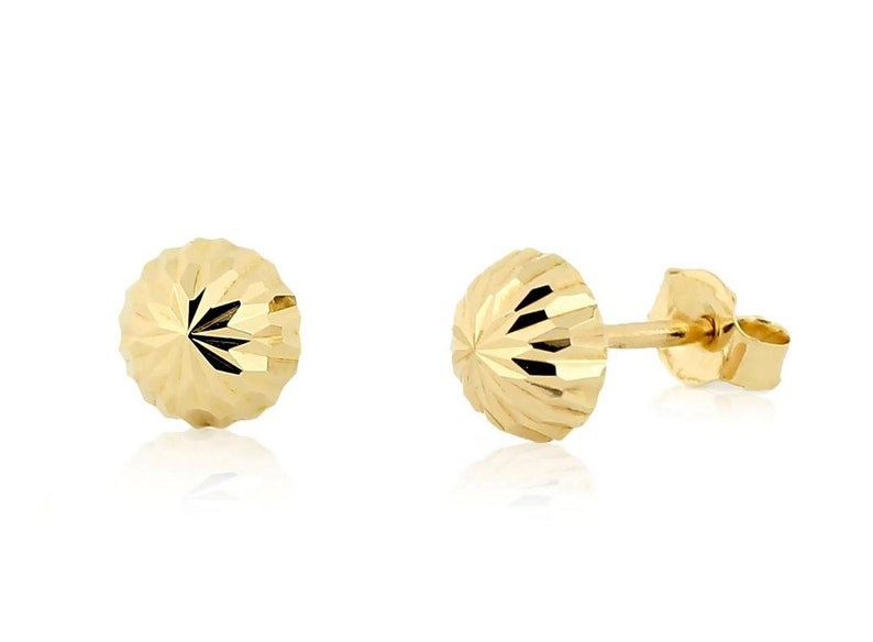 694d8d4312658 14K Yellow Gold Diamond-Cut Studs - Flat Back Ball Stud Earrings 4mm, 5mm  or 6mm Round - Push On Backs - Minimalist Earrings - Gift for Her