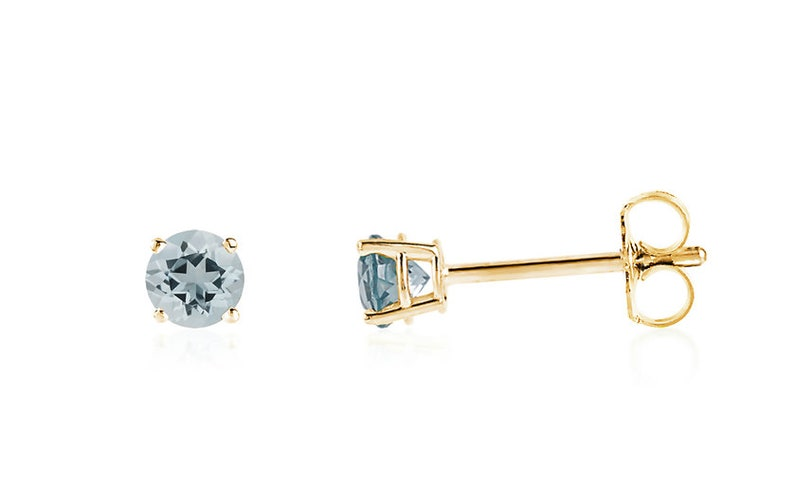 7840c693c95ef Aquamarine Gemstone Stud Earrings, 14K Yellow Gold, White Gold or Rose Gold  Blue Aquamarine Studs 3.5mm, 4mm or 5mm Round, March Birthstone