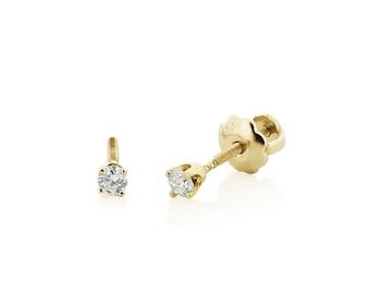 Baby Diamond Stud Earrings, 14K Yellow Gold Genuine White Diamond Stud Earrings for Babies or Kids - Screw Back Earrings - Gift for Girls