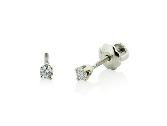 Baby Diamond Earrings 14k White Gold White Diamond Stud Etsy