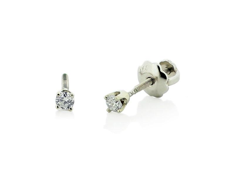 5d4f72dfdb3519 Baby Diamond Earrings 14K White Gold White Diamond Stud   Etsy