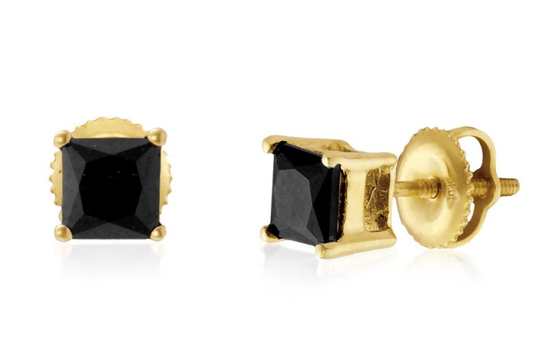 78459bebfc9dd Diamond Stud Earrings, 10K Yellow Gold Black Diamond Princess Cut Studs  .75ct or 1.25ct, Screw Back Settings, Gift for Her, Square Earrings