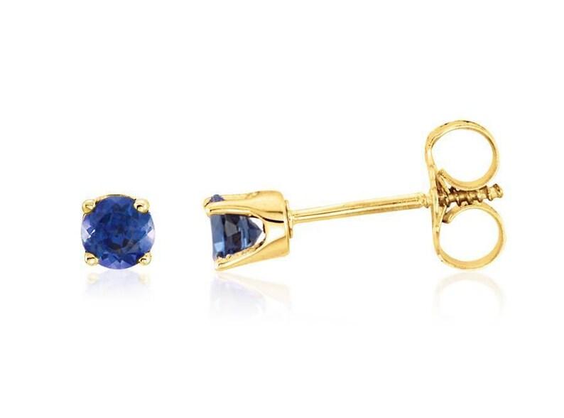 50f9cb57d 14K Sapphire Earrings 14K Yellow Gold Sapphire Gemstone Stud | Etsy
