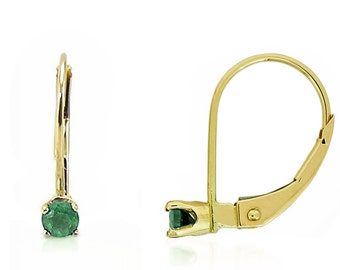 14K Yellow Gold Emerald Earrings - Girl's Leverback Gemstone Earrings - May Birthstone - Drop Earrings - Kid's Gift Idea -Birthstone Jewelry