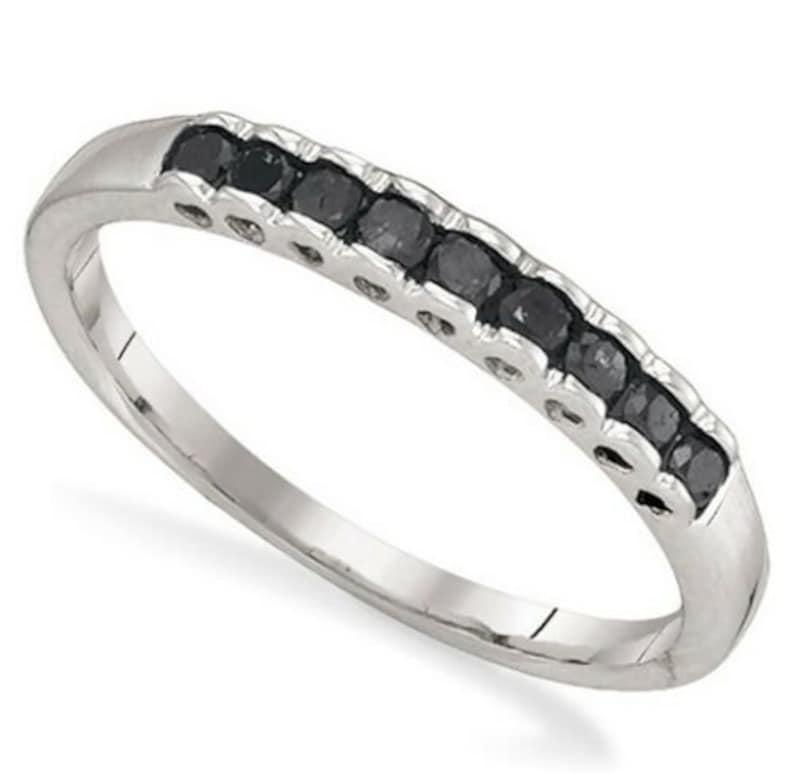 10K White Gold Black Diamond Scalloped Ring .25ct 8 or 9 Stacking Ring Size 6 Black Diamond Band 7 Gift for Her