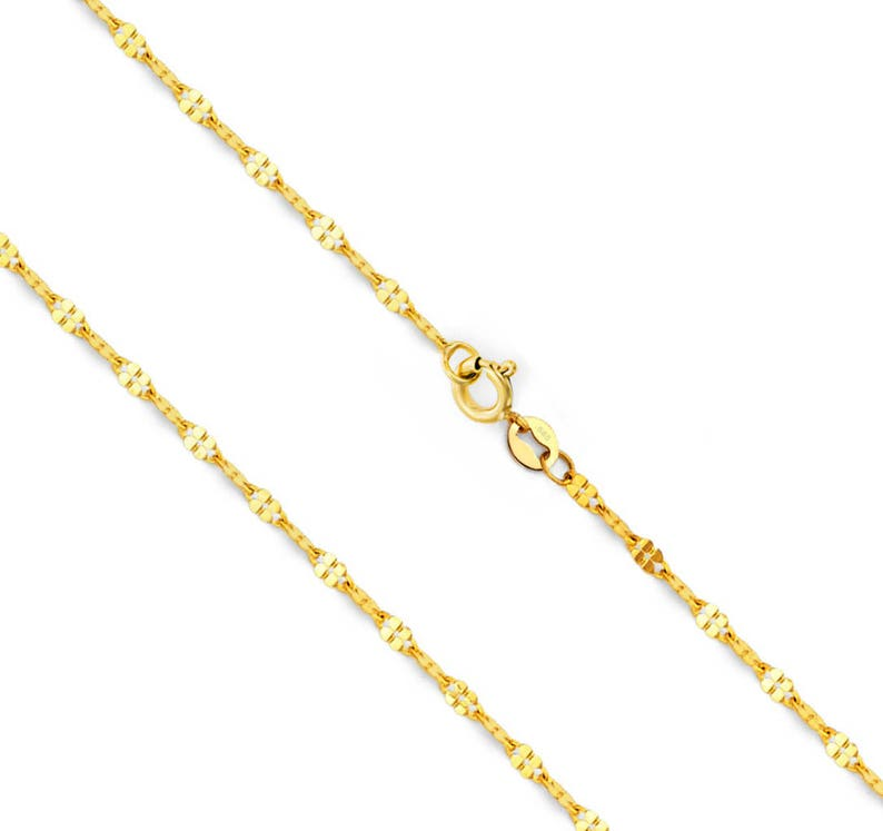 14K Yellow Gold 0.8mm wide Diamond Cut Singapore Chain with Spring Ring Clasp