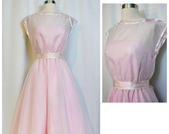 House of Bianchi Pink/White 50s Dress with Ribbon Detail