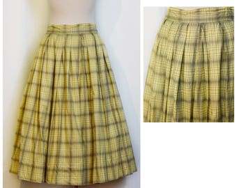 1950s Yellow Plaid Skirt