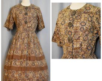 50s Brown Print Shirtwaist Dress