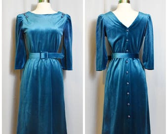 70s Teal Velour Button Up Back Dress