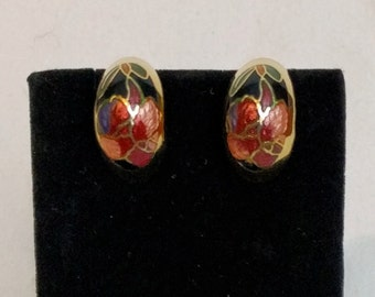 Cloisonné Flower Clip On Earrings