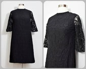 60s Black Wiggle Dress with Lace Half Sleeves