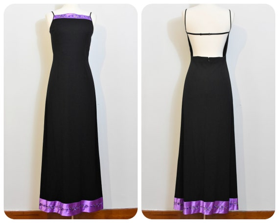 Papell Boutique Evening 90s Backless Black Gown