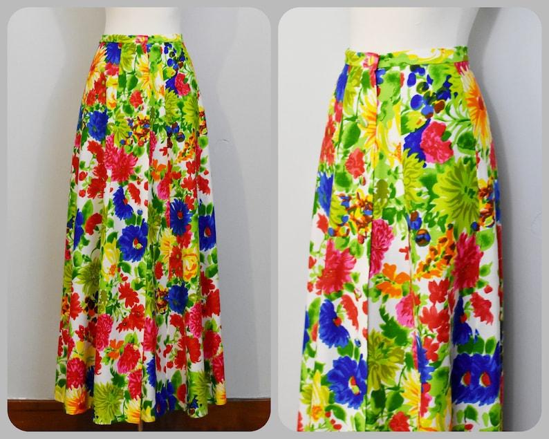 4e5222df67e 60s Neon Floral Print Button Up Maxi Skirt