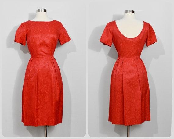 Red Jacquard 60s Dress