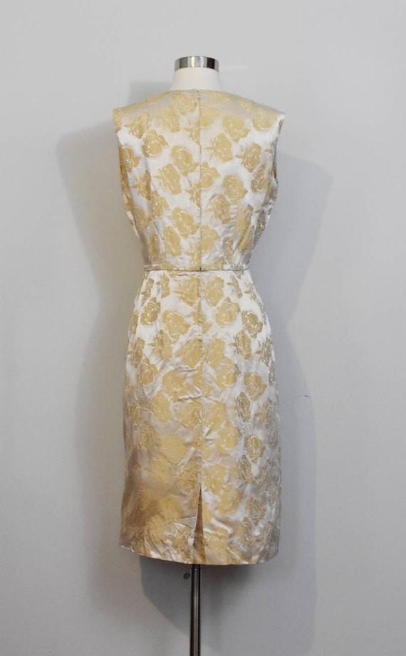Gold Jacquard 50s Rose Print Wiggle Dress and Jac… - image 4