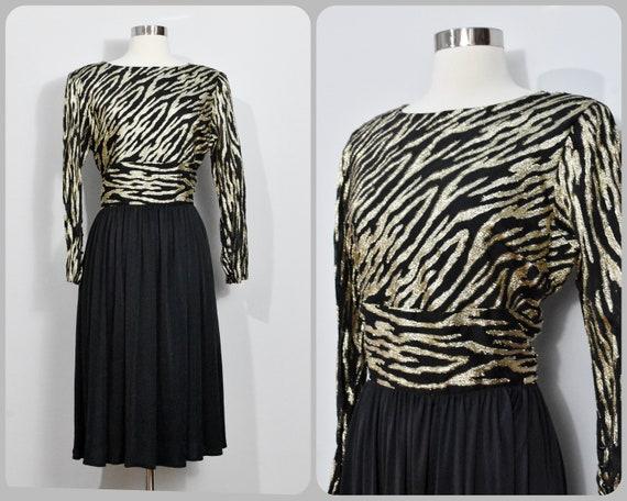 Ursula of Switzerland Petite Black & Gold Dress