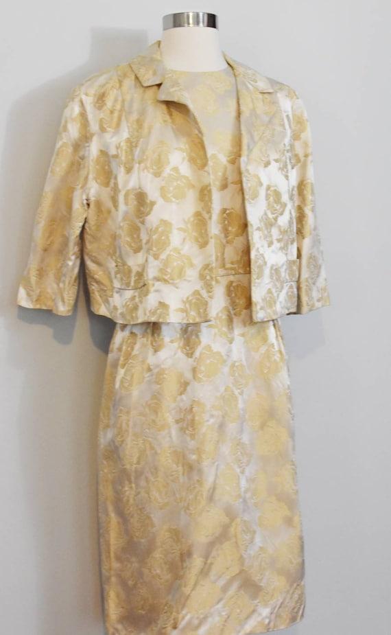 Gold Jacquard 50s Rose Print Wiggle Dress and Jac… - image 6