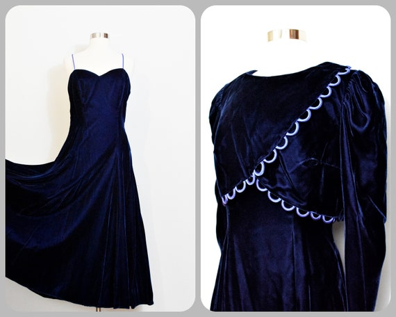 1970s Rayon Velvet Gown with Matching Bolero