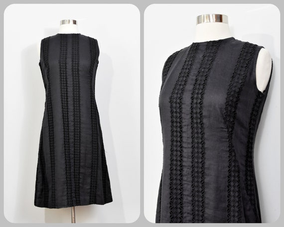 I. Magnin Black Eyelet Shift Dress