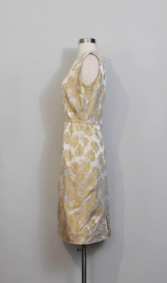 Gold Jacquard 50s Rose Print Wiggle Dress and Jac… - image 3