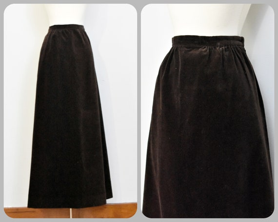 Nelly De Grab Brown Velvet Maxi Skirt - image 1