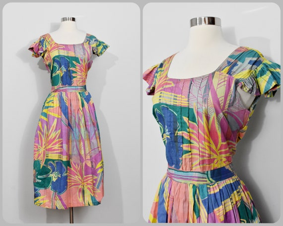 80s Tropical Print Cotton Dress by Expedition: Ind