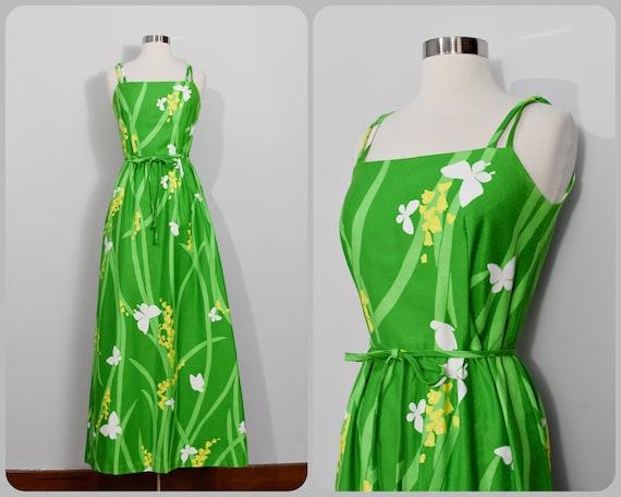 Green Butterflies and Buttercups Print Malia Maxi