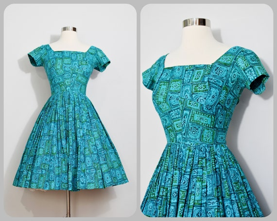 Teal/Green 50s Dress with Geometric Print