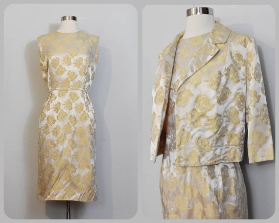 Gold Jacquard 50s Rose Print Wiggle Dress and Jac… - image 1