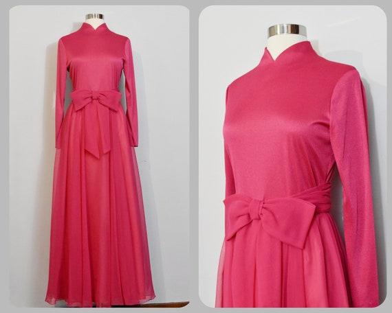 Miss Elliette Hot Pink Chiffon Evening Gown